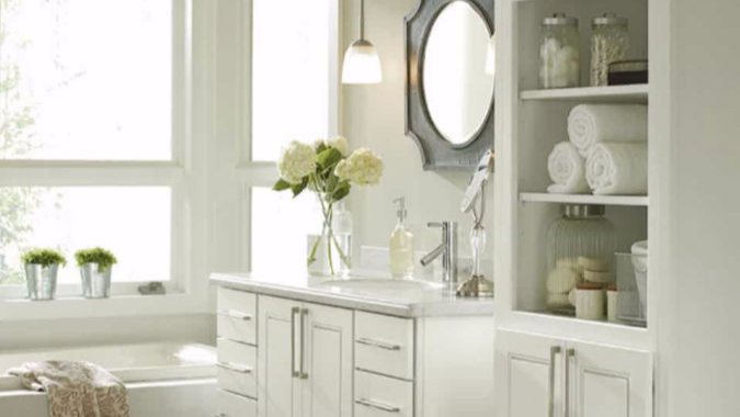 Renovate your bathrooms with new cabinets and a fresh coat of paint.